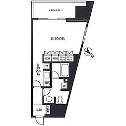 東急田園都市線 池尻大橋駅 徒歩2分の賃貸マンション 17階1Kの間取り
