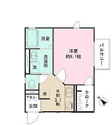 クロスガーデン町田A棟 2階1Kの間取り