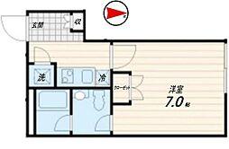 西武池袋線 桜台駅 徒歩6分の賃貸マンション 3階1Kの間取り