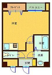 森塚第12マンション 4階ワンルームの間取り