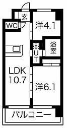 Osaka Metro堺筋線 天下茶屋駅 徒歩6分の賃貸マンション 9階2LDKの間取り