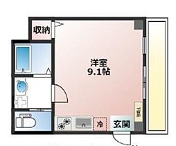 阪急神戸本線 春日野道駅 徒歩5分の賃貸マンション 2階ワンルームの間取り