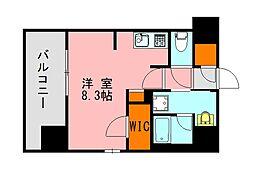 西鉄天神大牟田線 高宮駅 徒歩20分の賃貸マンション 6階ワンルームの間取り