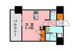 西鉄天神大牟田線 高宮駅 徒歩20分の賃貸マンション 8階ワンルームの間取り