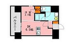西鉄天神大牟田線 高宮駅 徒歩20分の賃貸マンション 7階1DKの間取り