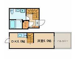 JR総武線 東中野駅 徒歩10分の賃貸マンション 4階1DKの間取り