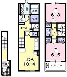 リヴェール コートII 2階2LDKの間取り