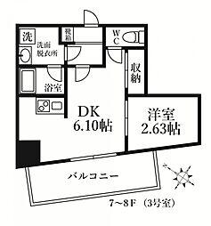 福岡市地下鉄七隈線 薬院大通駅 徒歩6分の賃貸マンション 8階1DKの間取り