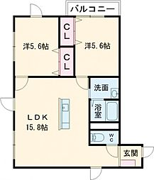 YUNO CROSS PLACE 4階2LDKの間取り
