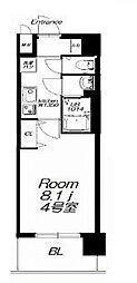 近鉄大阪線 今里駅 徒歩9分の賃貸マンション 9階1Kの間取り