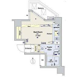 東急田園都市線 三軒茶屋駅 徒歩6分の賃貸マンション 6階ワンルームの間取り