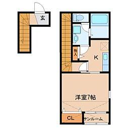 仮)鹿野3丁目新築1Kアパート 2階1Kの間取り