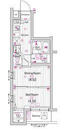 JR横浜線 町田駅 徒歩12分の賃貸マンション 2階1DKの間取り