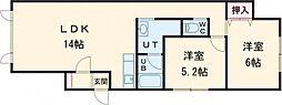 ハイツU B棟 2階2LDKの間取り
