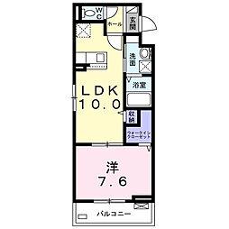 ベル・エトワール 2階1LDKの間取り