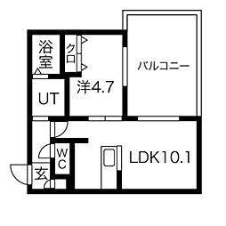 札幌市電2系統 中島公園通駅 徒歩6分の賃貸マンション 1階1LDKの間取り