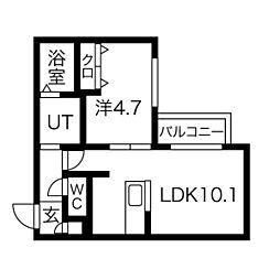 札幌市電2系統 中島公園通駅 徒歩6分の賃貸マンション 5階1LDKの間取り