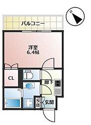 福岡市地下鉄箱崎線 千代県庁口駅 徒歩2分の賃貸マンション 13階1Kの間取り