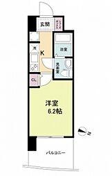 阪神本線 春日野道駅 徒歩6分の賃貸マンション 5階1Kの間取り