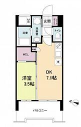 阪神本線 春日野道駅 徒歩6分の賃貸マンション 8階1DKの間取り