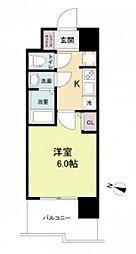 阪神本線 春日野道駅 徒歩6分の賃貸マンション 7階1Kの間取り