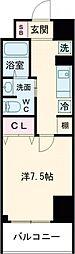 クラシエ四日市パークサイド 2階1Kの間取り