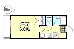 水島臨海鉄道 栄駅 3.6kmの賃貸マンション 2階1Kの間取り