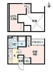 福岡市地下鉄七隈線 野芥駅 徒歩5分の賃貸アパート 2階ワンルームの間取り