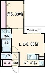プレシェルト北栄 2階1LDKの間取り