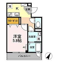 東京メトロ千代田線 赤坂駅 徒歩5分の賃貸マンション 2階1Kの間取り