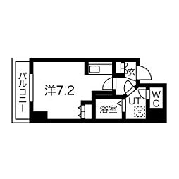 札幌市営東豊線 北13条東駅 徒歩5分の賃貸マンション 2階1Kの間取り