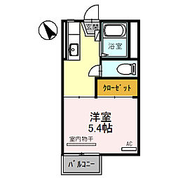 ハイツ西田 2階1Kの間取り
