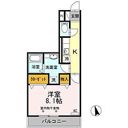 エスタシオン津 2階1Kの間取り