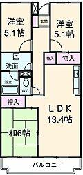 東武東上線 新河岸駅 徒歩3分の賃貸マンション 4階3LDKの間取り