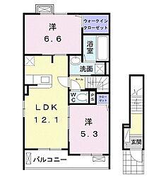 東武野田線 馬込沢駅 徒歩25分の賃貸アパート 2階2LDKの間取り