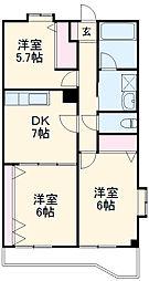 サン・ニューヴィラ町田 3階3DKの間取り