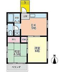グリーンヒル武蔵野A棟 2階2DKの間取り