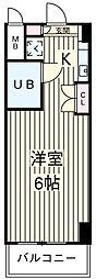 JR中央線 国分寺駅 徒歩3分の賃貸マンション 5階1Kの間取り