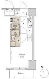 東急池上線 荏原中延駅 徒歩6分の賃貸マンション 11階1Kの間取り