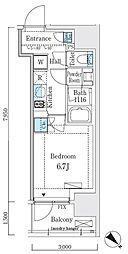 JR山手線 大崎駅 徒歩7分の賃貸マンション 9階1Kの間取り