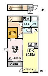 京王線 仙川駅 バス8分 杏林大学病院前下車 徒歩3分の賃貸アパート 2階1LDKの間取り