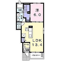 JR両毛線 大平下駅 徒歩16分の賃貸アパート 1階1LDKの間取り