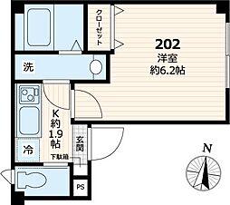 東京メトロ日比谷線 三ノ輪駅 徒歩7分の賃貸マンション 2階1Kの間取り