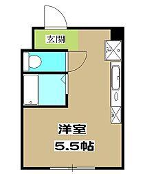 加賀山コーポ5 2階ワンルームの間取り