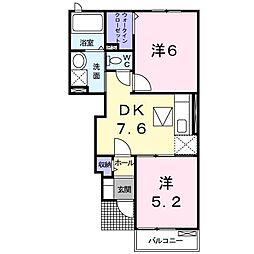 東武桐生線 藪塚駅 徒歩23分の賃貸アパート 1階2DKの間取り