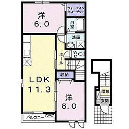 東武桐生線 藪塚駅 徒歩30分の賃貸アパート 2階2LDKの間取り