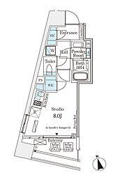 東京メトロ半蔵門線 表参道駅 徒歩12分の賃貸マンション 9階ワンルームの間取り
