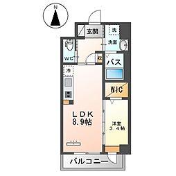 JR鹿児島本線 竹下駅 徒歩16分の賃貸マンション 4階1LDKの間取り