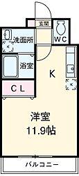 I-STAGE東岩田 1階ワンルームの間取り