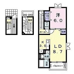 JR高崎線 本庄駅 徒歩19分の賃貸アパート 3階1LDKの間取り